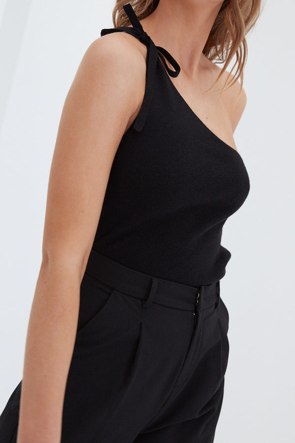 Lacey One Shoulder Top - Black