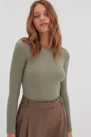 Long Sleeve Ribbed Top - Tan