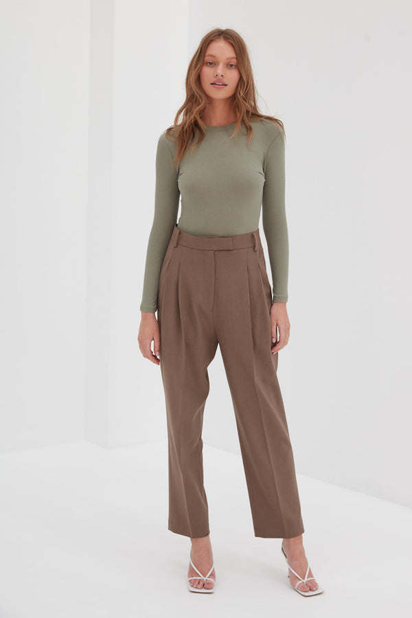 Long Sleeve Ribbed Top - Khaki