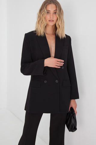 Ella Crop Blazer - Black