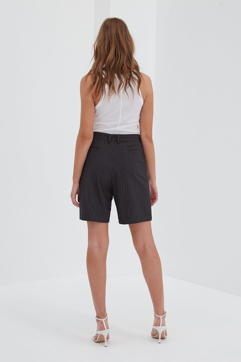 Tailored Shorts - Grey Pinstripe