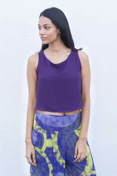 Crepe flared crop top