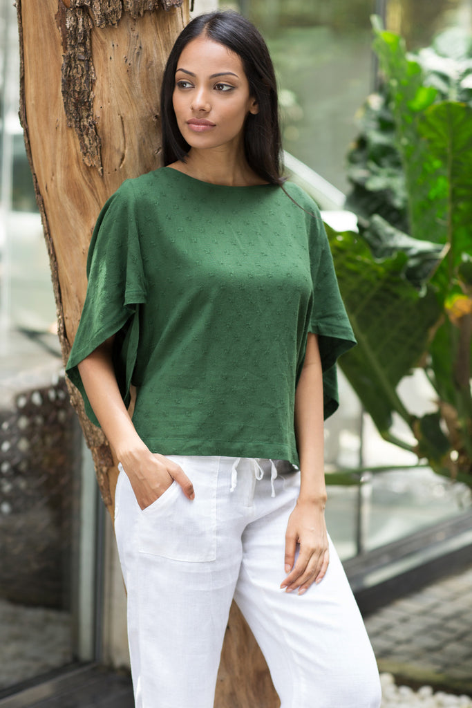 Origami sleeve linen top - Fashion Market.LK