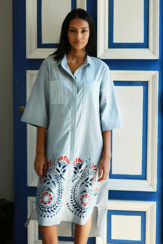 HeritagefFloral print- oversized linen shirt dress