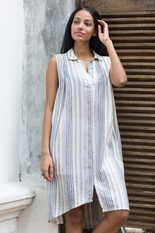 Embroidered- Linen mini dress with handloom cuffs