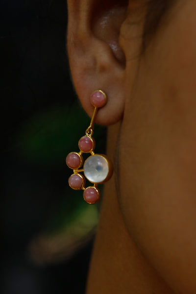 Rainbow Moonstone & Pink Opal Earrings