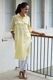 yellow linnen shirt tunic dress