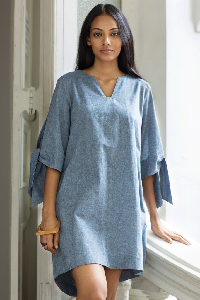 Chambray oversized shirt dress