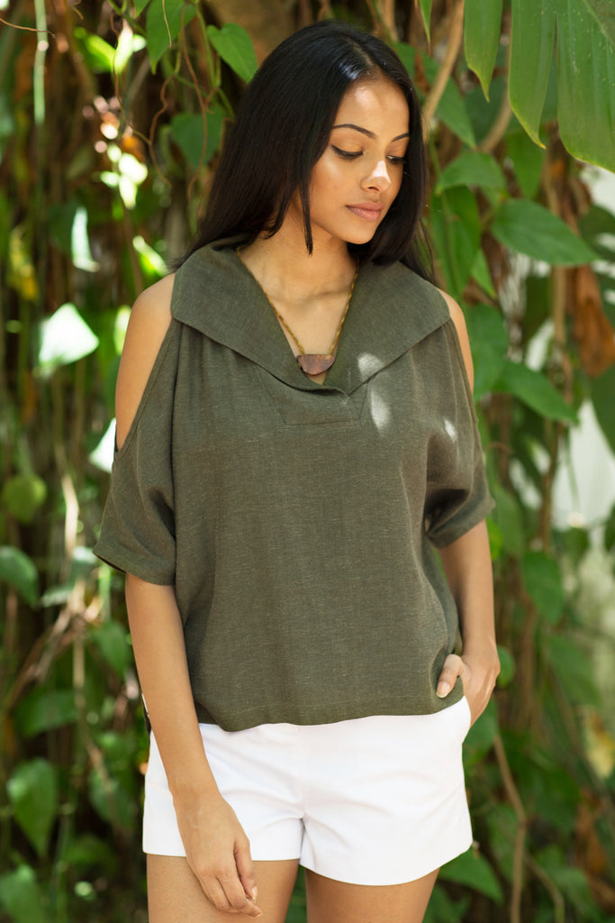 Oversized army green linen top
