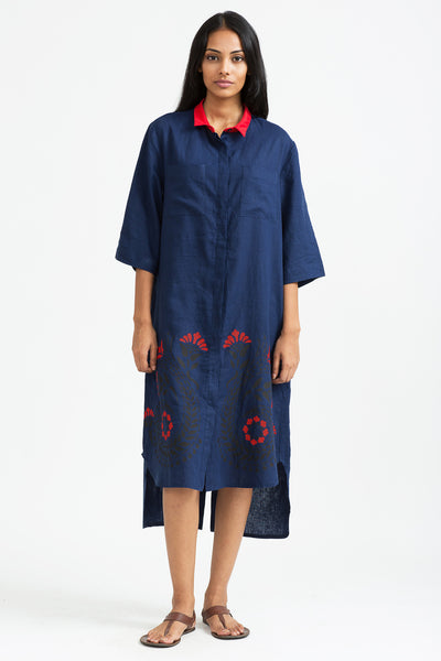 Floral-print cotton blend linen shirt dress