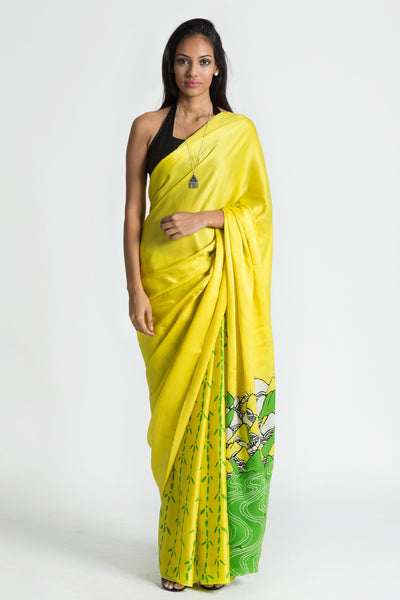 Batik Silk Saree - Mountain springs -Immediate Shipping
