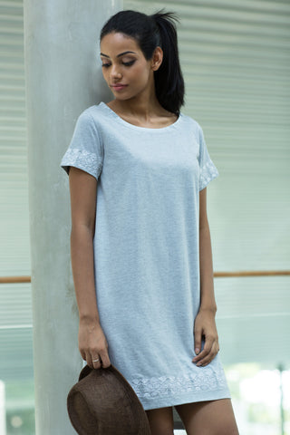 Grey embroidered t shirt dress