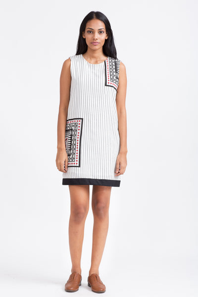 Heritage motif print- cotton blend striped shift dress