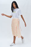 Midi Stripe Wrap Skirt