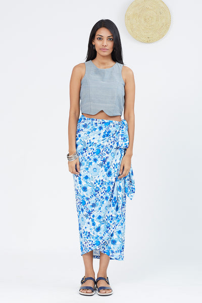 Creap satin wrap skirt