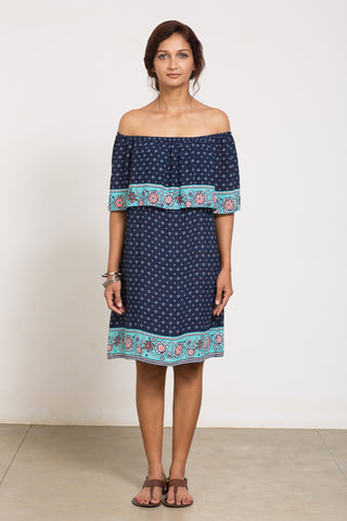 1331 Off The Shoulder Boho Print Dress