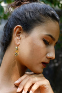 LS001FM019 Green Gold Earrings
