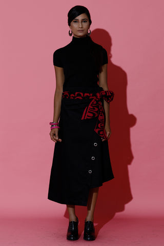 Asymmetric Eyelet Wrap Skirt with Batik Belt