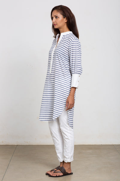 White and blue shirt tunic