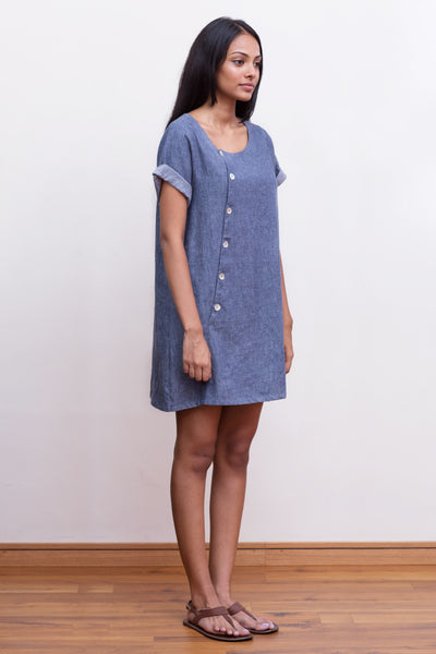 Linen-chambray mini dress