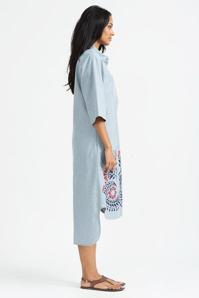 Floral-print chambray shirt dress