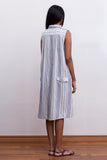 Asymmetric cotton striped dress