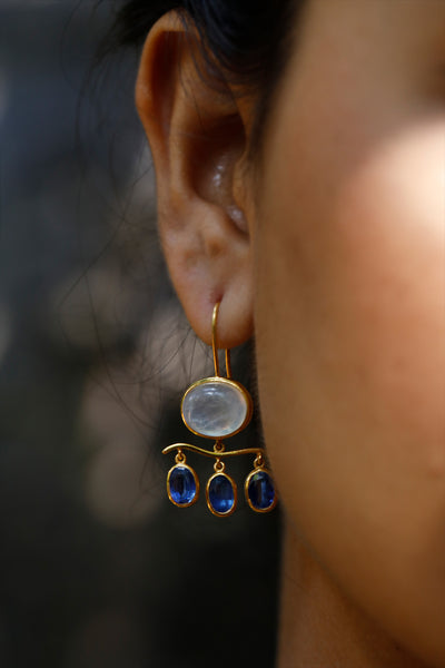 Rainbow Moonstone & Kyanite Earrings