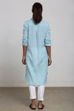 Mint green linnen shirt tunic dress