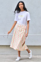 Load image into Gallery viewer, Midi Stripe Wrap Skirt