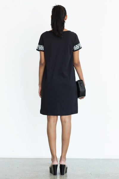 Black embroidered t shirt dress