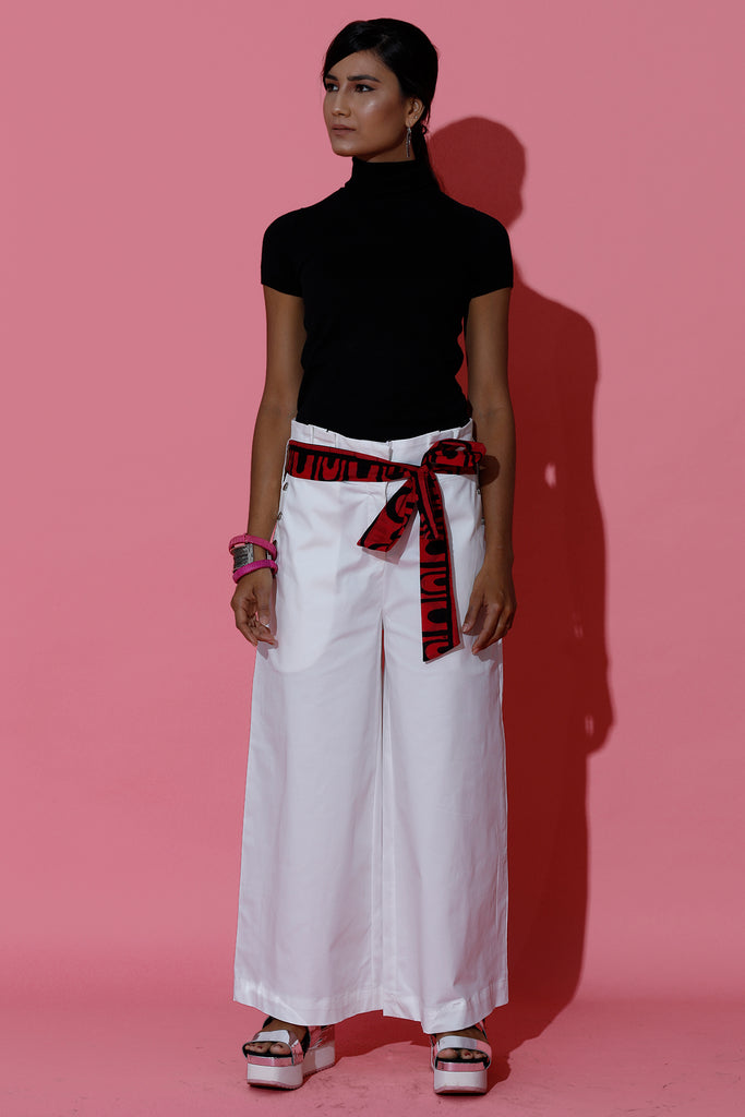 White Sailor Pants with Batik Belt