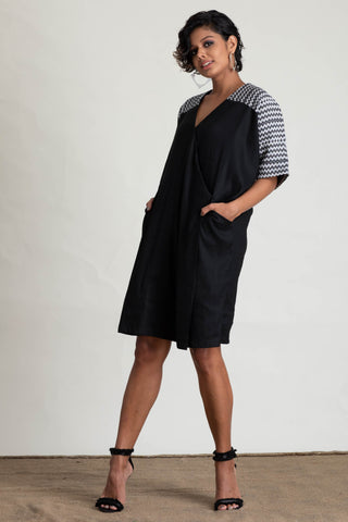 Cross Over Handloom Yoke shift Dress