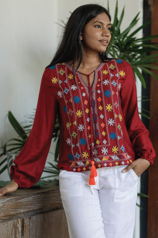 Embroidered Top With Tassel Details