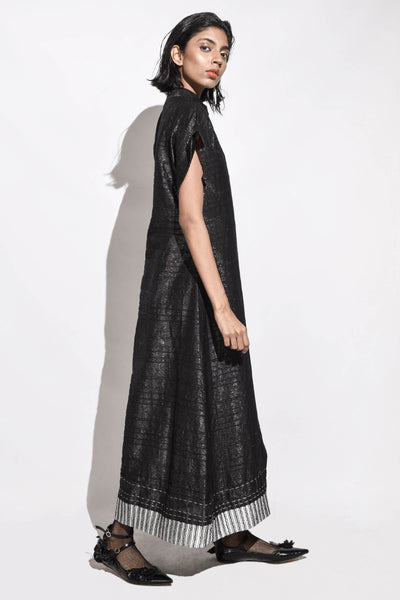 Handwoven Metalic Dinner Dress- Black