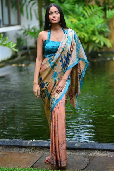 Urban Drape Tropical Teal Silk Saree- Shipping From 3rd February