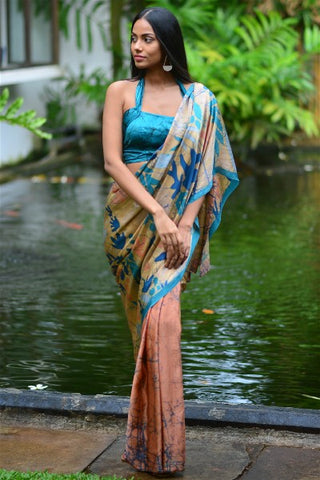 Urban Drape Tropical Teal  Silk Saree -Shipping From 12th September