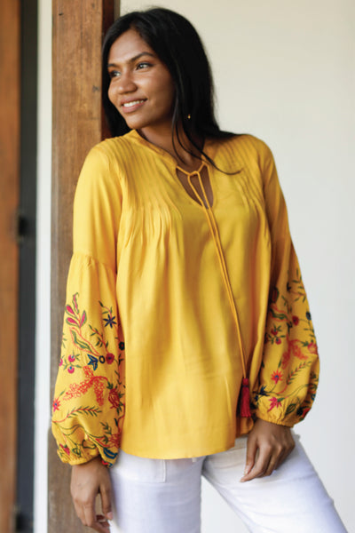 Embroidered Blouse with Pleated Details