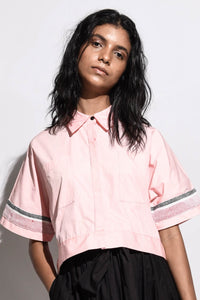 Crop Shirt with Handwoven Detailing-Pink