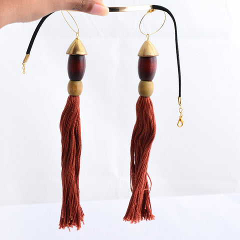 Gold with brown tassle choker