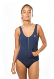 SOLID SPORTY ONE PIECE - NEW NAVY - Fashion Market.LK