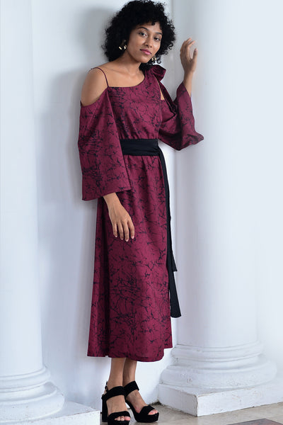 Crimson Side Bow Tie-Up Dress - Fashion Market.LK