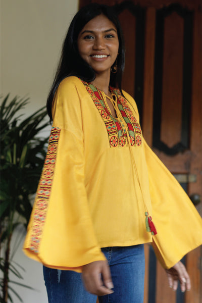 Embroidered Blouse with Front Yoke Embroidery