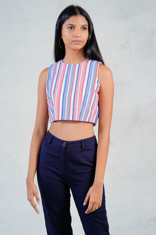 Sleeveless Stripped Crop Top