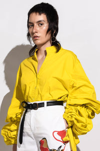 Shirt with Balloon Sleeves & Ties -Yellow
