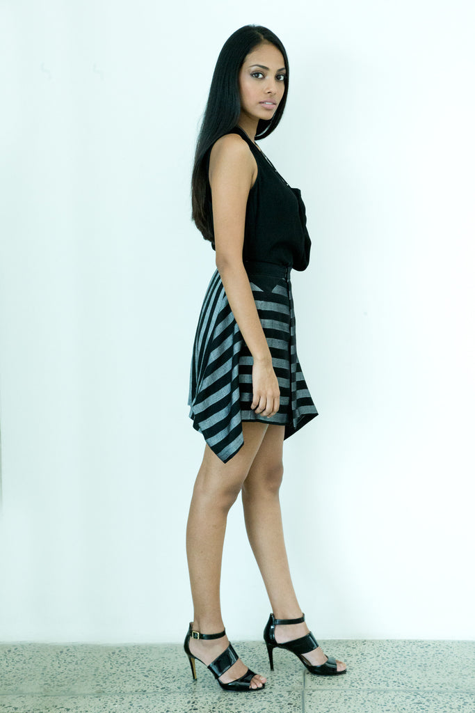 Hand Woven stripe flair Skirt