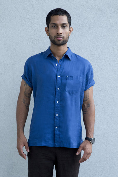 Casual Linen Shirt Light Blue