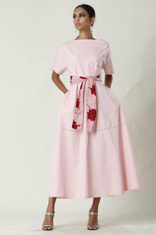 Midi Dress With Batik Belt - Pink