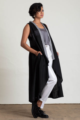 Soft Drape Handloom Panelled Cardigan