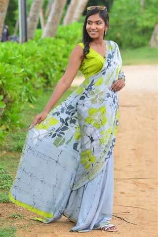 Urban Drape Spring Leaf Silk Saree