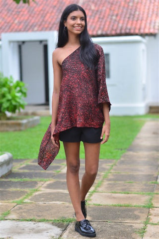 Splash Silk Batik Off Shoulder Top